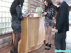 WAM european officebabes sharing a facial