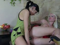 Oral Brunette Girl And Blonde Girl Are Anal Oral Strapo...