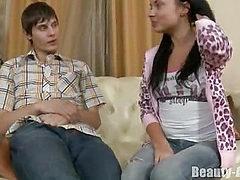 Beautiful teen spreads legs