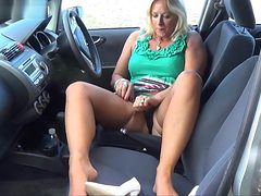 Stockings upskirt in car