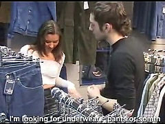 Russian stylish student gets quickly fucked in a store ...