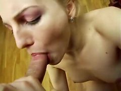 Sexy mature blonde sucking fat horny dick and enjoys pu...
