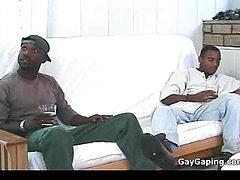 White gay taking three black dicks and hot sperm