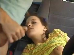 Chick pounding cock in the car