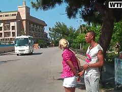 Blonde slut Anabell is horny and enjoys getting teased ...