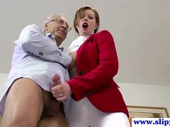 British amateur pussyfucked by an old mans hard cock an...