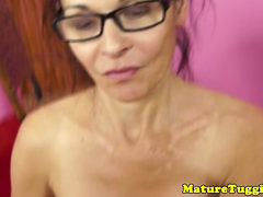 Busty Mature Amateur In Spex Jerking Cock