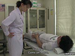 Turned on though shy looking Japanese nurse Sayaka Aish...