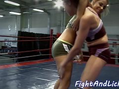 Wrestling euro dykes lick each others pussy