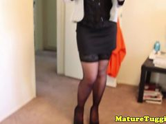 Busty Cougar In Stockings Tugging Dick Pov