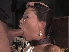 Bound Asian drenched in spit as they face fuck her