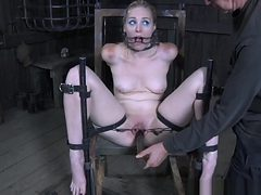 Restrained Sub Gets Her Pussy Disciplined