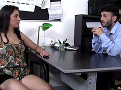 Watch an aggressive boss takes advantage of his secreta...