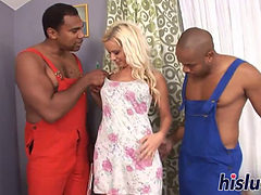 Raunchy Interracial Threesome With A Blonde Minx