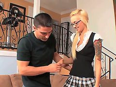 Gorgeous blonde babe Emma Mae likes teasing the guy and...