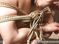Kinky Asian slut drenched in hot wax