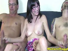 Amateur Milf Jerking Two Cocks For Lucky Guys