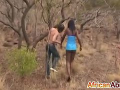 African girl gags on fat white dick