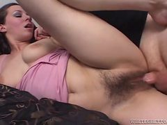 Pumping dick into her hairy pussy