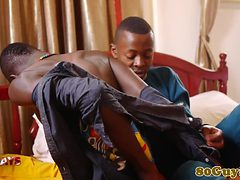 Gay african gives head after making out