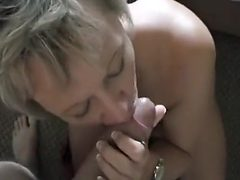 Cock loving blonde milf blows off hard fat cock and enj...