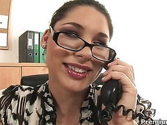 Babes gets naked and fucking in office