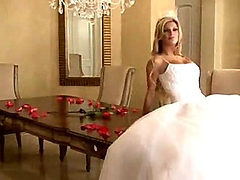 Bride in beautiful wedding dress spreading legs (Try so...