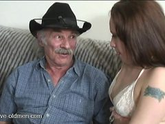 Slut in lace blows grandpa and gets fucked hardcore