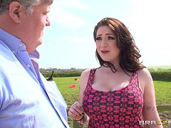 Farm girl with big tits can't resist city guys with hug...