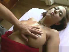 Brunette Gets Vibrator Used On Pussy On A Massage Table
