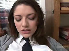 A cute sexy brunette schoolgirl having sex (Try somethi...