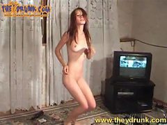 Skinny naked girl is incredibly drunk and smoking