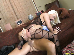 Tattooed Jacky Joy with gigantic breasts and shaved cu...
