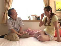 Cute Asian maid with large boobs allows the guy to poke...