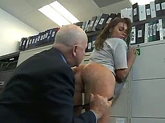 Big beautiful ass gets fucked hard by two. Office. (Try...