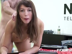 Young brunette assfucked hard and fired anyway