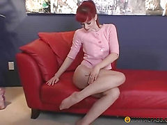 Flexible bitch licks his heels