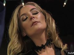 Extreme hot blonde mistress plays male
