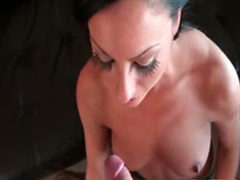 Slutty dark haired sucking a horny Dick in POV