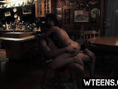 Superb teen bitch rides cock in the bar