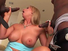 Horny white whore gets two monstrous black cocks deep i...