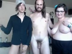 Straight and gay and chubby gal make kinky threesome on...