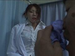 Kinky nurse Runa Tominaga flashes her hairy pussy upskirt