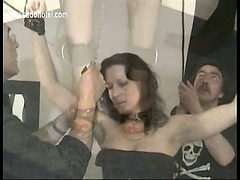 Two master ties horny slave and put a metal chain on he...