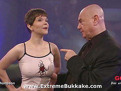 Short haired girly gets her tight pussy stretched befor...