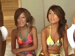 Japanese bikini girls admire dicks