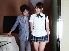 Scandalously short skirt on a horny Japanese tranny slut