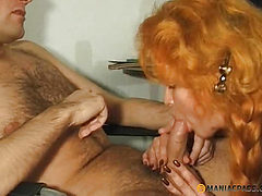 Redhead hairy pussy his aunt sat on the member