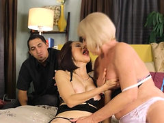 Horny mature ladies pleasing each other and a horny guy