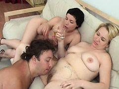 Threesome sex with a hot BBW Brunette MILF babe